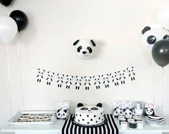 Panda Garland / Panda Party / Black and White Party / Monochrome Party / 1st Birthday Party / Kids Party / Party Garland / Panda Theme