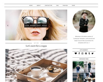 "Wordpress Template ""Lushy Love"" Responsive Premade Blog Theme // Simple Modern Black White Instant Download"