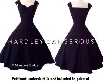 Little Black Dress, The Cheri 3-in-1 Swing Dress by Hardley Dangerous Couture, 1950s Rockabilly Mod Bridesmaid Wedding