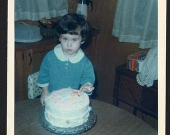 vintage Color Snapshot Photo of Little Birthday Girl Dressed in Blue Fingers in Cake 1960's, Original Found Photo, Vernacular Photography