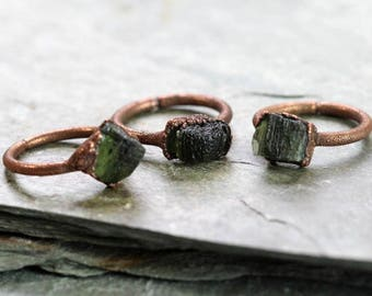 Moldavite Ring Electroformed Copper Ring Outer Space Geekery Collector Gift Space Green Ring Astronomy Gift Delicate Ring