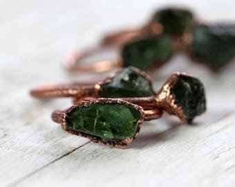 Apatite Ring Electroformed Green and Copper Ring Stone Ring Natural Stone Delicate Ring Green Apatite