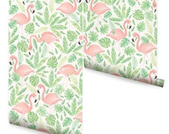 Tropical Flamingo Coral Peel & Stick Fabric Wallpaper