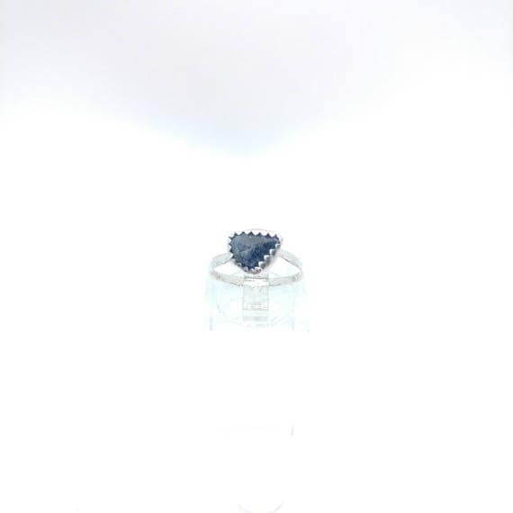 Raw Blue Sapphire Ring | Sterling Silver Ring Sz 5.5 | Raw Blue Sapphire Jewelry | Raw Stone Ring | Blue Crystal | September Birthstone Ring