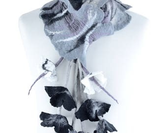 Gray nuno felt scarf with long fringe & flowers, stylish and chic gray scarf for women, designer flower scarf, high fashion accessory [S22]