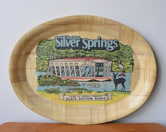 Silver Springs Florida Woven Bamboo Souvenir Tray // US State Parks, Glass Bottom Boat // Kitsch Bar Platter or Wall Decoration