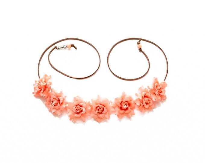 Peach Rose Flower Crown
