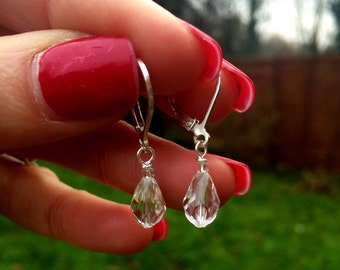 Swarovski Crystal drop wedding earrings, small clear crystal teardrop earrings simple bridal earrings Sterling Silver hooks leverbacks studs