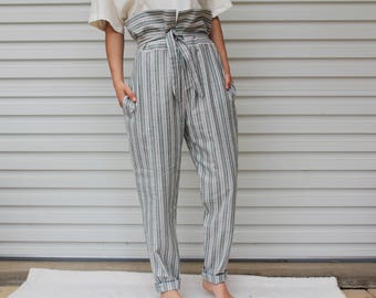 VINTAGE Sale Stripe Cotton Pant High Waist Pant Paper Bag Pant Skinny Trouser Pockets Tie Up Pant Ethical Clothing