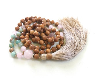 African Opal And Sandalwood Mala Beads, Knotted Sandalwood and Rose Quartz Mala Necklace, Handmade 108 Bead Mala Necklace, Mantra Beads