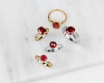 Red Ruby Ring/ Ruby Silver Ring/ Red CZ Silver Ring/ July Birthstone Ring/ Red Birthstone Ring