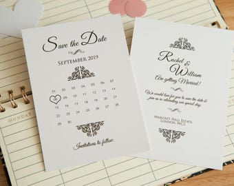 Pearlescent Save the date calender invitations. Shiny wedding invites. Double sided with optional envelopes. Elegant wedding stationary. UK