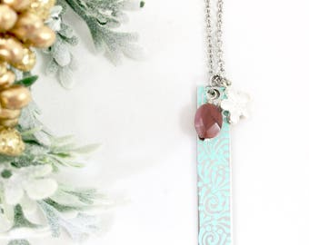 Unique Turquoise Necklace, Long Bar Necklace, Vertical Bar Necklace, Mixed Media Jewelry, Christmas Gift for Wife, Heather Nicole Designs