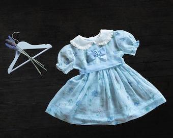 Vintage Girls Sheer Dress - Blue Floral - 1950s - size 2-3