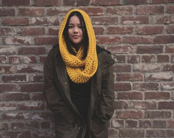 The Isaac Chunky Infinity Scarf, crochet chunky infinity scarf, hooded scarf, crochet scarf, infinity scarf,  gifts 50 and under