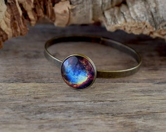Colorful galaxy bangle bracelet, Galaxy jewelry, Space bracelet, Space bangle, Nebula bracelet, Galaxy art glass, Galactic bracelet UJ 087