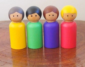 Rainbow peg dolls - Waldorf / Steiner style, set of 4 (yellow, green, purple and pink with blonde hair)