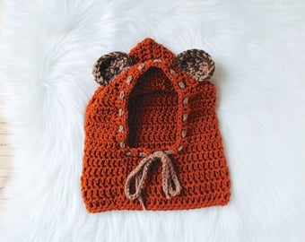 Ewok bear inspired crochet hat hood cowl mix