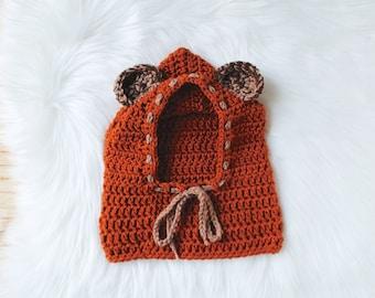 Knit Bear Hoodie, Ewok Hoodie, Star Wars Baby, Ewok Hat, Crochet Bear Hoodie, Baby Ewok Hat, Baby Bear Cowl, Baby Bear Hoodie, Baby Hood