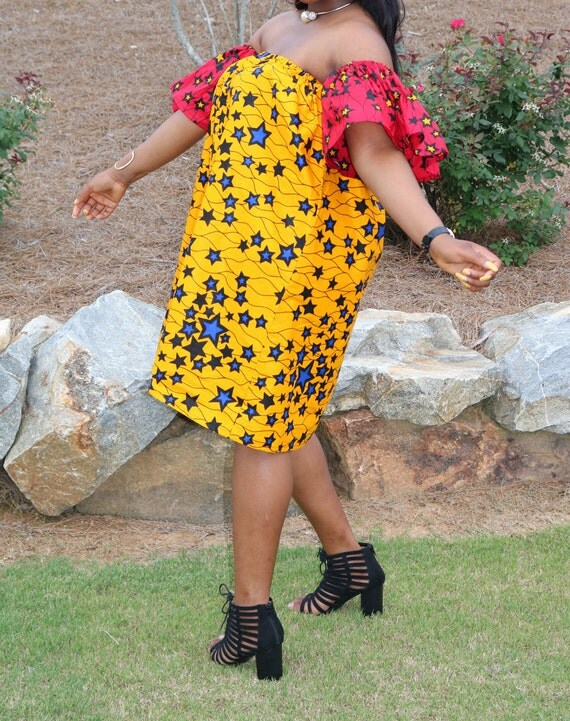 African print off shoulder dress/Off shoulder dress/Plus size