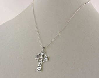 Sterling Silver Celtic Pendant Cross Necklace 16""
