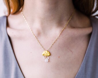 Rainy Day Moonstone and Satellite chain Necklace