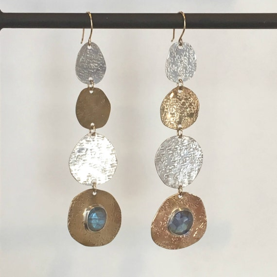 Mixed Metal Textured Disc Earrings with Gemstone