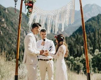 Elegant Handmade Bohemian Macrame Wedding Backdrop by The House Phoenix. Choose Size and Colour
