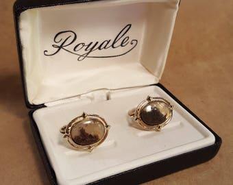 Earthy Agate Gold Tone Royale Cuff Link Cufflink Set In Box