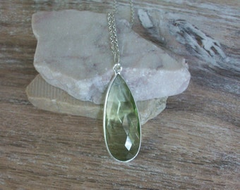 Green Amethyst Necklace/Amethyst Pendant/Prasiolite Necklace/Layering Necklace/February Birthstone/Genuine Green Prasiolite Amethyst/N0818