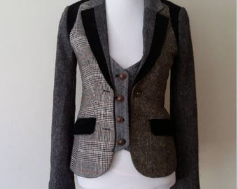 Patchwork jacket, XS, S, plaid blazer, plaid jacket, fall jacket, plaid vest, tweed jacket, herringbone jacket