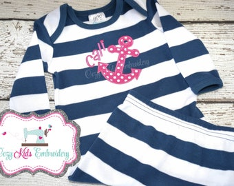 Coming Home Gown, Baby's Coming Home Outfit, Anchor Appliqué, Embroidery, Nautical Baby Gown, Personalized Gown, Monogram Gown