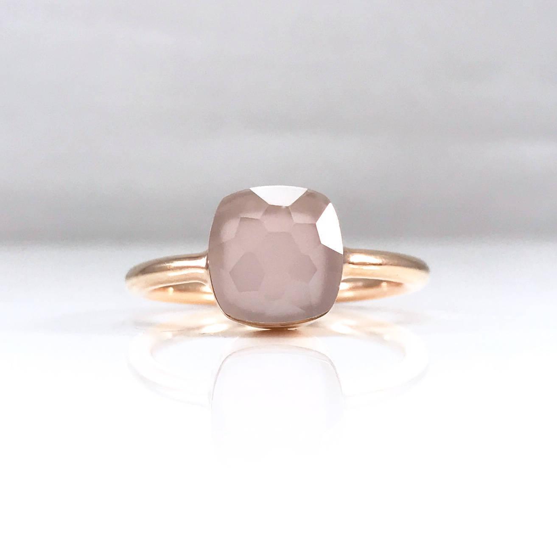 Rose quartz ring small Pink stacking ring Small layering ring