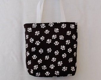Fabric Gift Bag/ Party Favor Bag/ Goody Bag- Paw Prints on Black