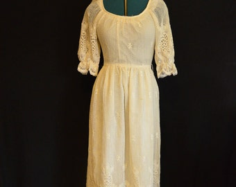 1960s Prairie Dress White Lace Vintage Joseph Magnin Maxi Dress Boho Prairie Maxi Dress