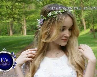White Purple Flower crown Floral crown Flower halo Wedding flower crown   Fower girl  crown Flower hair wreath Hair flower crown