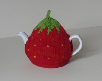 Knitted strawberry tea cosy - Small 1-2 cup strawberry teapot cosy - Medium 4-6 cup strawberry tea cosy - Large 6-8 cup red teapot cosy