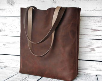 Brown leather tote, leather tote bag, chocolate leather shoulder bag, leather purse, rustic leather, vintage, tote bag