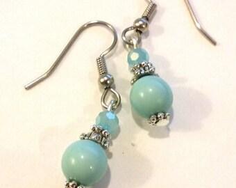 Aquamarine blue/green earrings