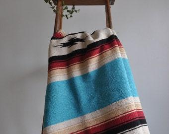 Vintage Mexican Serape // Southwestern Blanket // Saltillo // Yoga Blanket // Beach Blanket // Picnic Blanket // Area Rug // Throw (2)
