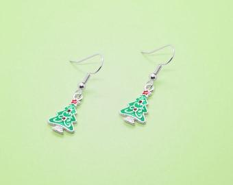 Green Earrings - Christmas Jewellery - Gift for Friend - Statement Earrings - Small Earrings Women - Xmas Tree Earrings - Festive Earrings