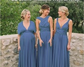PRE ORDER Steel Blue Bridesmaid Dress, Slate Blue infinity dress, Multiway Dress, Convertible dress, Ready 15th MAY no rush is available