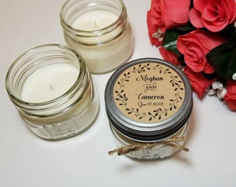 12 - 4 oz Wedding Favors - Wedding Candles - Bridal Shower Favors - Engagement Party Favors - Personalized Candles - Gift for Guests