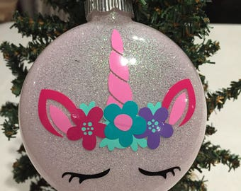 Unicorn Glittered Glass Ornament