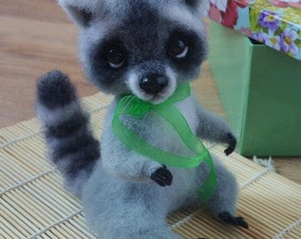 Needle felted toys. Felted toy. Felted toys. Felted animal.Felt raccoon.