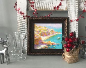 Original oil painting framed seascape 11x11 painted sunny coast ready for hanging classical fine art for designers interior office decor