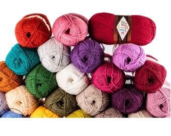 Alize LANAGOLD FINE wool and acrylic, сhoose colour hand knit yarn, blend yarn autumn winter yarn, soft and warm yarn, knitting crochet yarn