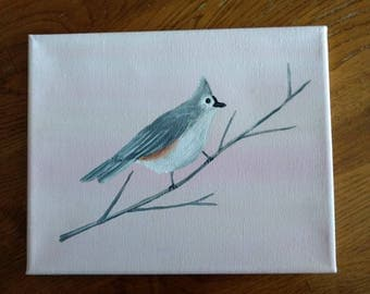 Original Art Tufted Titmouse Acrylic Painting On Canvas Pink and Gray Decor