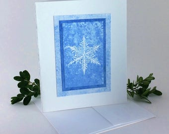 Snowflake blues embossed blank card, individually handmade: A2, notecards, fine cards, winter, let it snow, SKU BLA21040