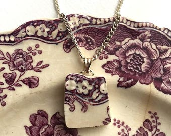 Broken china jewelry - china pendant necklace with chain - antique china shard pendant - plum purple transferware - made from a broken plate